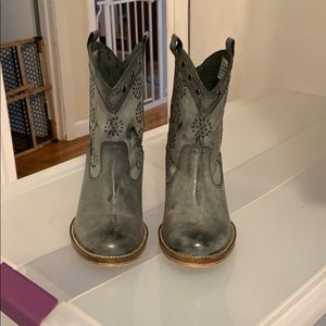 Dingo short all leather distressed look Grey Boot